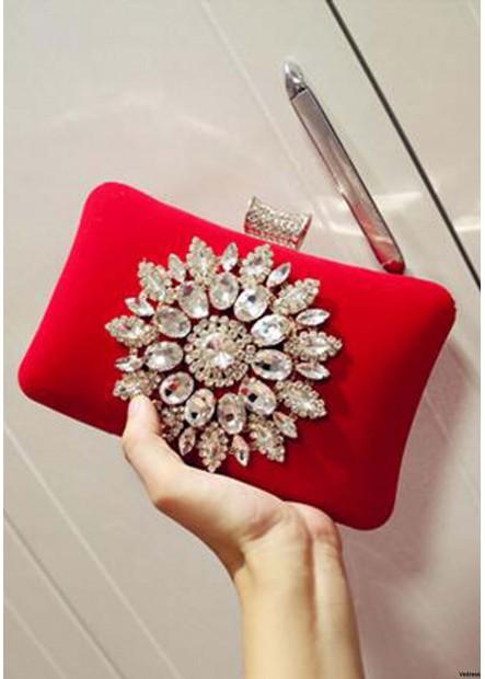 Diamond-Encrusted Evening Soft Face Lock Buckle Female Handbags T901556097764