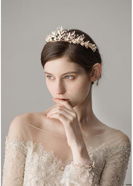 Mori White Lacquered Leaf Wedding Dress Tiaras T901556593547