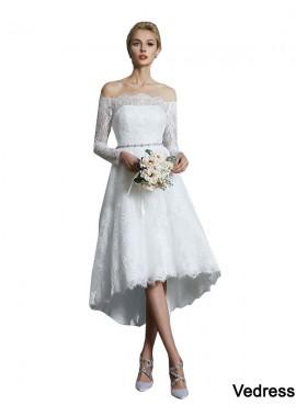 Vedress 2021 Long Sleeves Short Lace Wedding Dress T801524714740