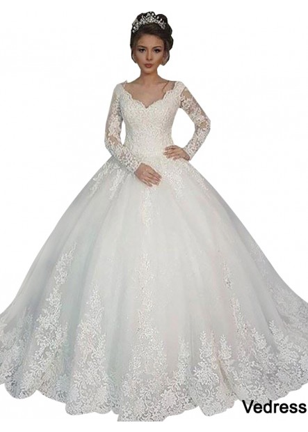 Vedress 2021 Long Sleeve Winter Ball Gowns With Sleeves UK