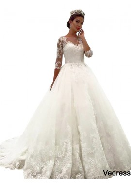Vedress 2020 Vintage Princess Lace Winter Ball Gowns