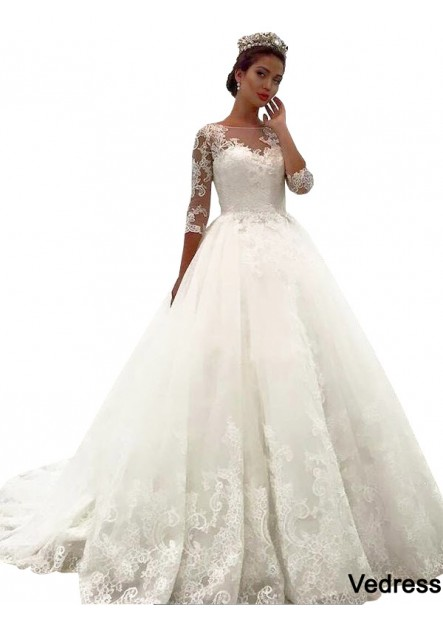 Vedress 2021 Vintage Princess Lace Winter Ball Gowns