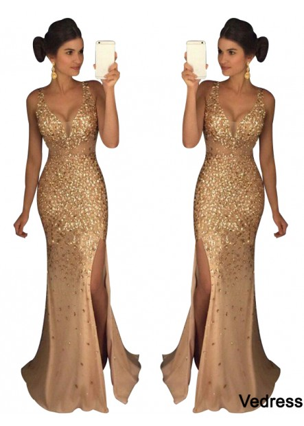 Vedress The Gold Long Prom Evening Dress T801524640105