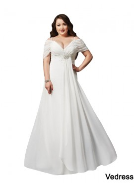 Vedress White Long Plus Size Prom Evening Dress T801524704103
