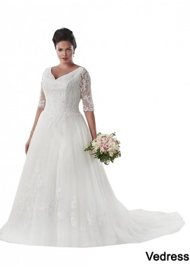 Vedress Vintage Plus Size Wedding Dress With Sleeves