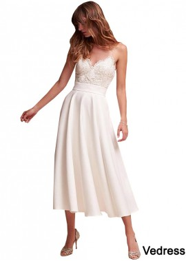 Vedress Casual Simple Beach Short Cheap Tea Length Wedding Dresses